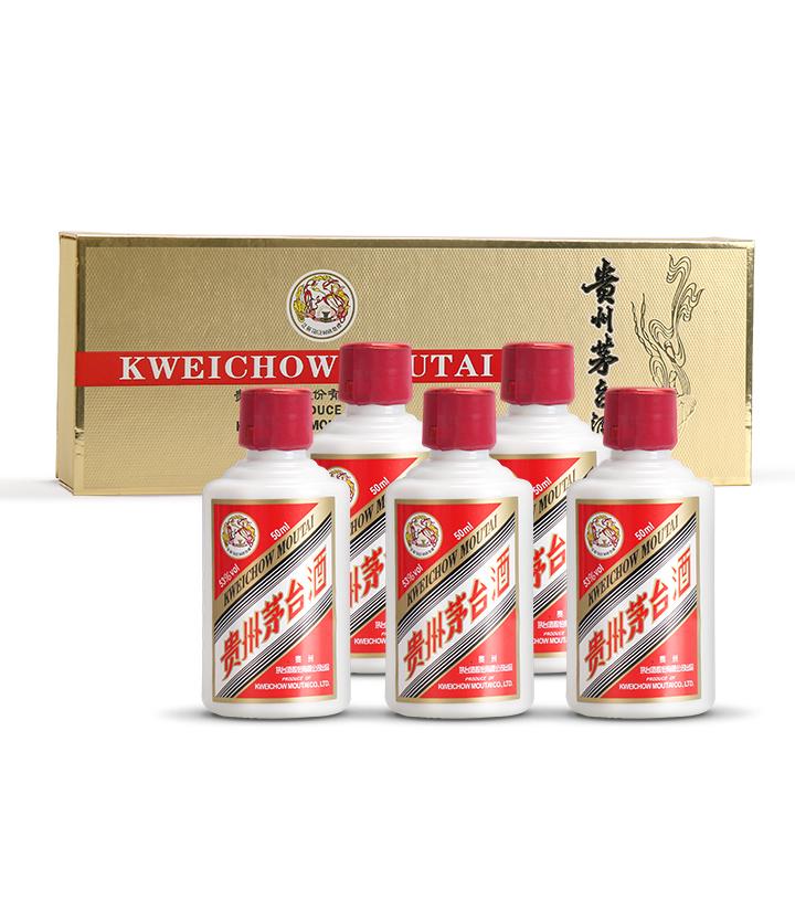 53°茅台飞天小酒(金色条盒装)50ml*5 瓶